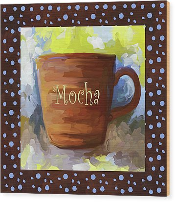 Mocha Coffee Cup With Blue Dots Wood Print by Jai Johnson