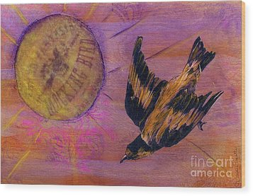 Wood Print featuring the mixed media Mockingbird by Desiree Paquette