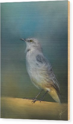 Mockingbird On A Windy Day Wood Print