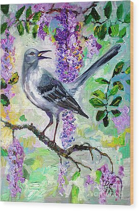 Mockingbird Song In Wisteria Wood Print by Ginette Callaway