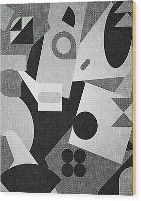 Mod, Grayscale Wood Print by Sandy Taylor