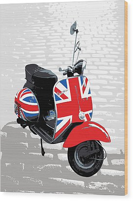 Mod Scooter Pop Art Wood Print by Michael Tompsett