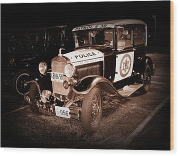 Model A Culver City Police Bw Wood Print by David Dunham