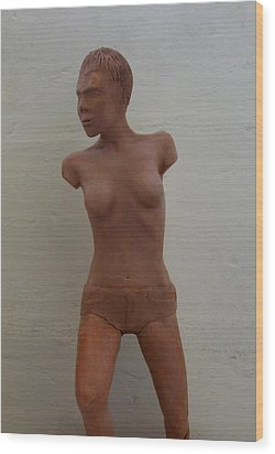 Model Female Nude.01 Wood Print by Ray Agius
