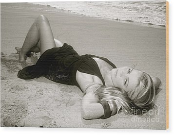 Model On Beach Wood Print by Kicka Witte - Printscapes