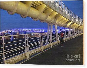 Wood Print featuring the photograph Modern Bicycle Overpass By Night by Yali Shi