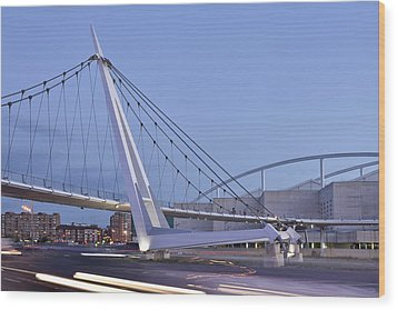 Modern Bridge Zaragoza Delicias Wood Print by Marek Stepan