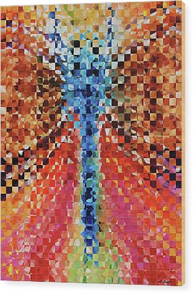 Modern Dragonfly Art - Pieces 6 - Sharon Cummings Wood Print by Sharon Cummings