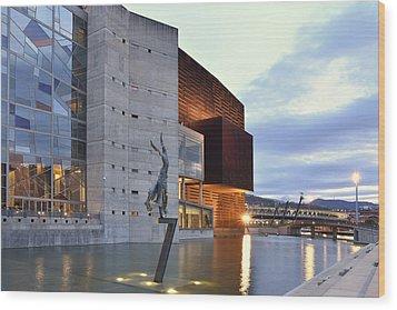 Wood Print featuring the photograph Modern Euskalduna Center Bilbao by Marek Stepan