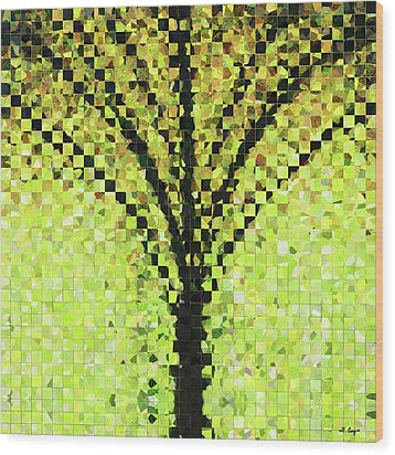 Modern Landscape Art - Pieces 10 - Sharon Cummings Wood Print by Sharon Cummings