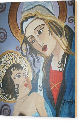 Modern Mother And Child Wood Print by Demetria Kelley