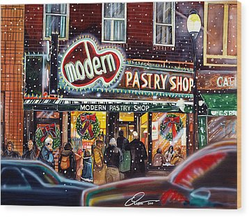 Modern Pastry Of Boston At Christmas Wood Print by Dave Olsen