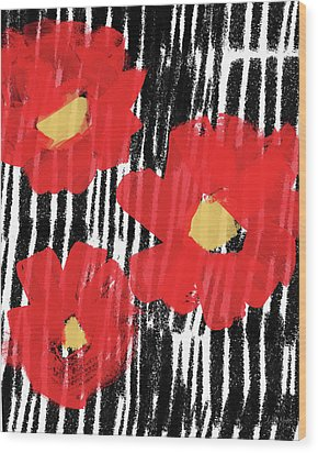 Wood Print featuring the mixed media Modern Red Flowers- Art By Linda Woods by Linda Woods