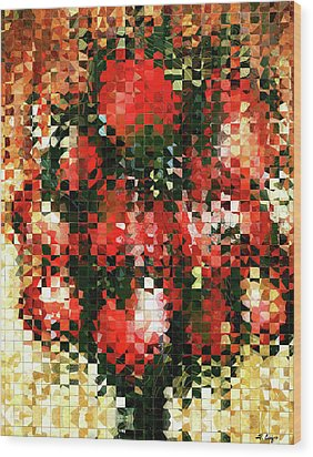 Modern Red Poppies - Pieces 4 - Sharon Cummings Wood Print by Sharon Cummings