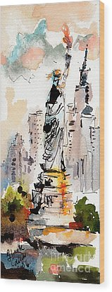 Wood Print featuring the painting Modern Statue Of Liberty New York Watercolor by Ginette Callaway