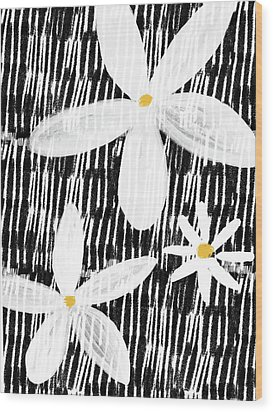 Wood Print featuring the mixed media Modern White Flowers- Art By Linda Woods by Linda Woods