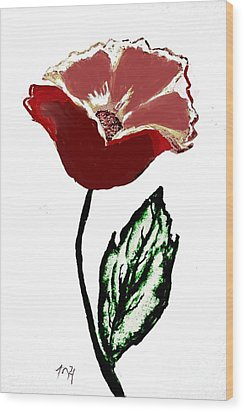 Wood Print featuring the drawing Modernized Flower by Marsha Heiken