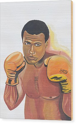 Wood Print featuring the painting Mohammed Ali by Emmanuel Baliyanga