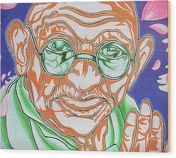 Wood Print featuring the photograph Mohandas Karamchand Gandhi  by Juergen Weiss