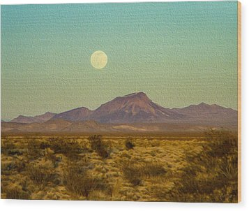 Mohave Desert Moon Wood Print