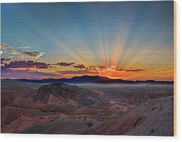 Mohave Sunrise Wood Print by Mark Dunton