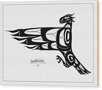 Mohawk Eagle Black Wood Print by Speakthunder Berry