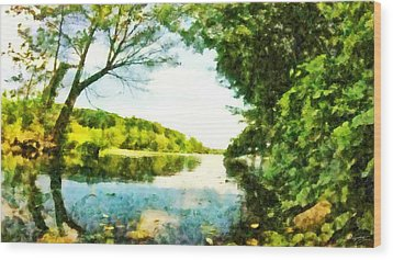 Wood Print featuring the photograph Mohegan Lake By The Bridge by Derek Gedney