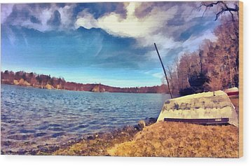 Wood Print featuring the painting Mohegan Lake Lonely Boat by Derek Gedney