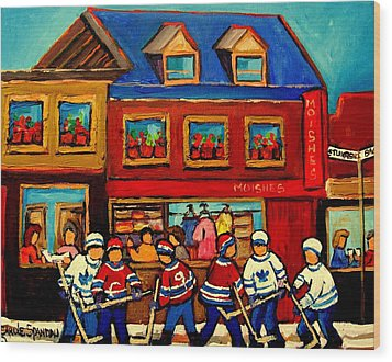 Moishes Steakhouse Hockey Practice Wood Print by Carole Spandau