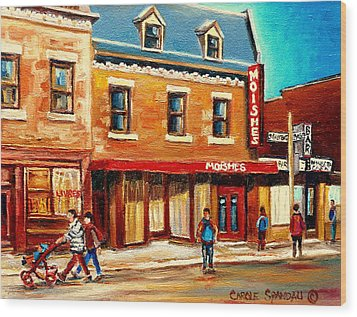 Moishes The Place For Steaks Wood Print by Carole Spandau