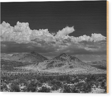 Wood Print featuring the photograph Mojave 020 Bw by Lance Vaughn