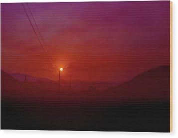 Mojave Sunrise Wood Print by Mark Dunton