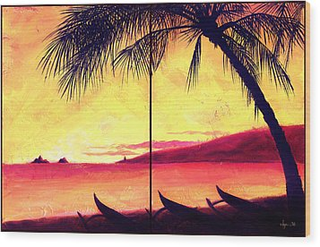 Mokulua Sundown Wood Print by Angela Treat Lyon