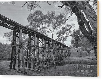 Wood Print featuring the photograph Mollisons Creek Trestle Bridge by Linda Lees