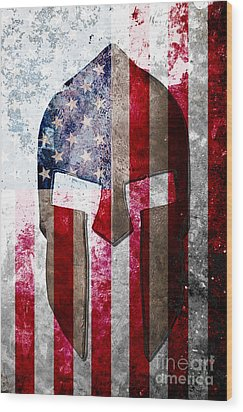 Molon Labe - Spartan Helmet Across An American Flag On Distressed Metal Sheet Wood Print