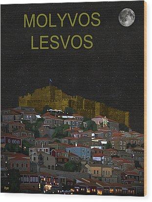 Molyvos By Night  Molyvos Lesvos Greece   Wood Print by Eric Kempson