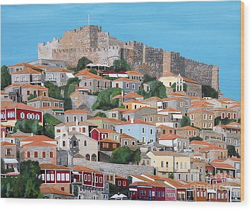 Molyvos Lesvos Greece Wood Print by Eric Kempson