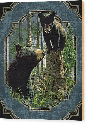 Mom And Cub Bear Wood Print