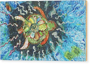 Mom There Is A Turtle In The Swimming Pool II Wood Print by Anne-Elizabeth Whiteway
