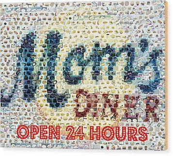 Moms Diner Food Mosaic Wood Print by Paul Van Scott