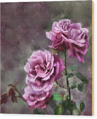 Wood Print featuring the digital art Moms Roses by Susan Kinney