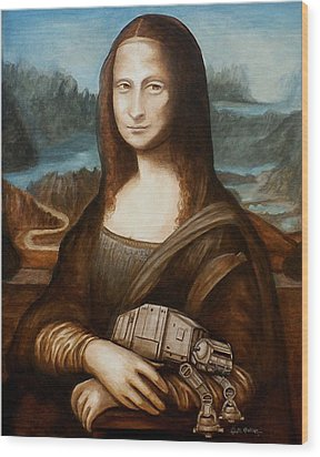 Wood Print featuring the painting Mona Lisa What You Smiling At At by Al  Molina