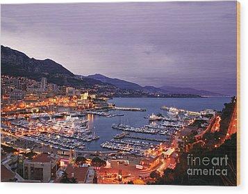 Monaco Harbor At Night Wood Print by Matt Tilghman