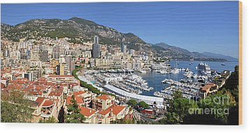 Monaco Port Hercule Panorama Wood Print by Yhun Suarez