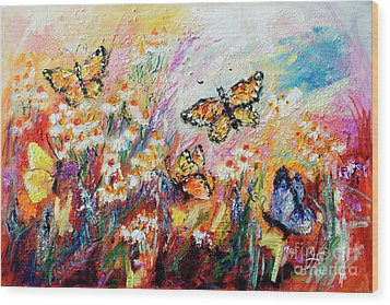 Wood Print featuring the painting Monarch Butterflies And Chamomile Flowers by Ginette Callaway