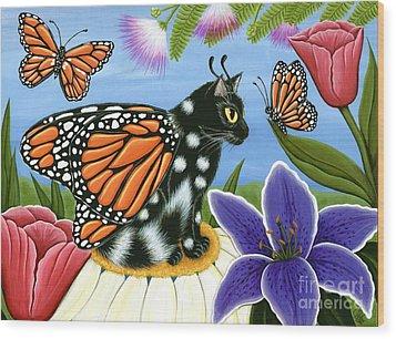 Monarch Butterfly Fairy Cat Wood Print