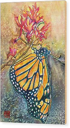 Monarch In The Morning Wood Print by Norma Boeckler