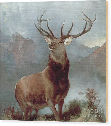 Monarch Of The Glen Wood Print by Sir Edwin Landseer