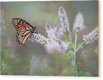 Wood Print featuring the photograph Monarch On Mint 1 by Lori Deiter