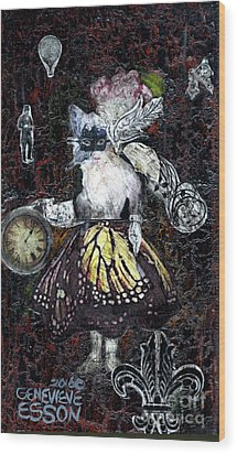 Wood Print featuring the mixed media Monarch Steampunk Goddess by Genevieve Esson